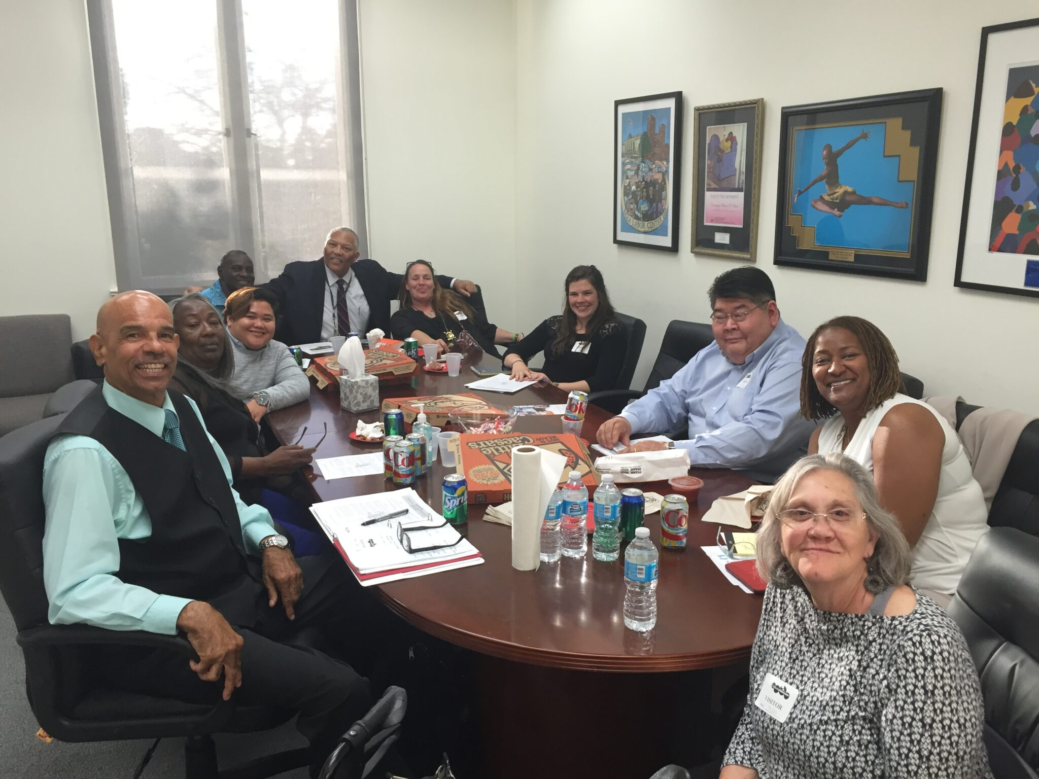 Our resident Francine (front right) and the Residents United Network meets with Senator Holly Mitchell. (source: Residents United Network)