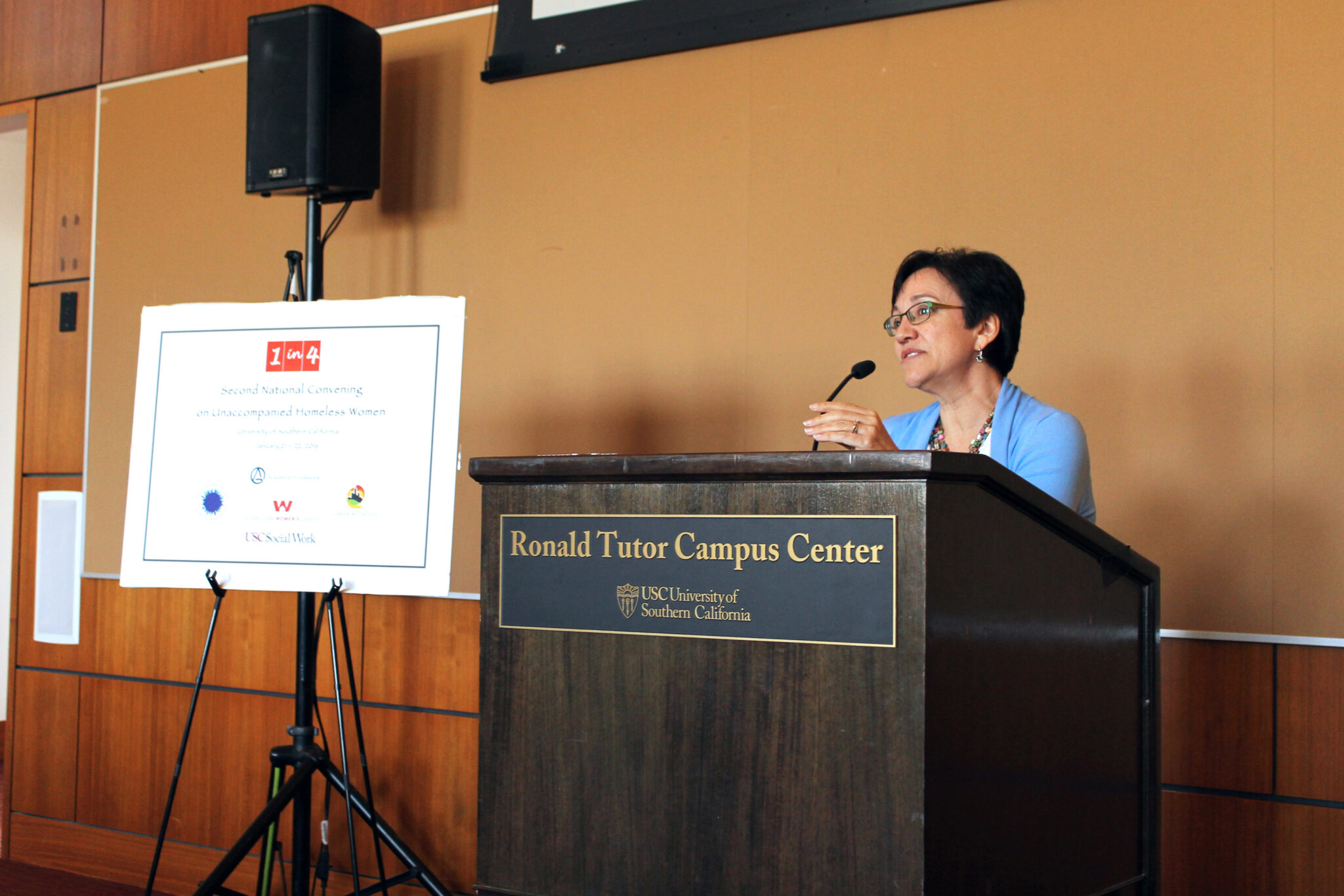"Open your mouths to call for change. Demand that women's lives be valued and their needs addressed."" DWC CEO Anne Miskey addresses the attendees of the 2nd National 1-in-4 Convening on Women's Homelessness at the University of Southern California."